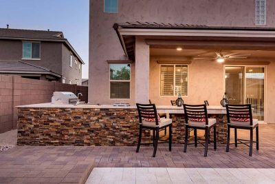 Built-in BBQ with Extra Long Dining Area