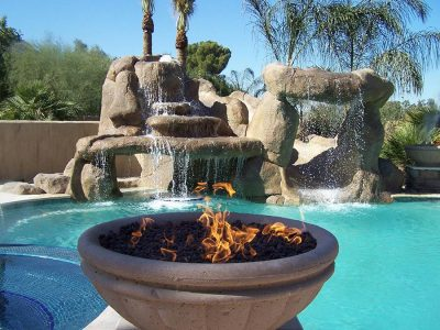 Swimming Pool Contractor Grotto and Fire Pit