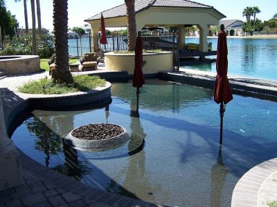 Lakeside Pool with Inset Fire Pit